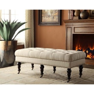 Linon 50-inch Natural Isabelle Fabric Bench