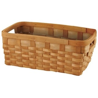 Wald Imports 13.5-inch Rectangular Woodchip Basket with Cut-out Handles on Both Sides (Set of 3)