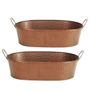 Wald Imports 14-inch Hammered Metal Planter (Set of 2)