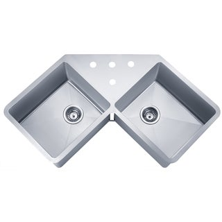 Wells Sinkware Handcrafted 'Butterfly' Undermount Double Bowl Stainless Steel Kitchen Sink