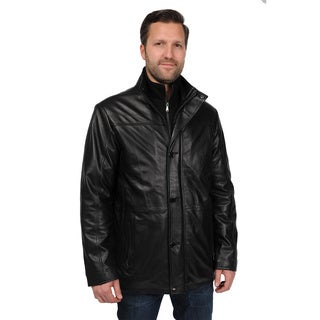 EXcelled Men's Plus Black Lambskin Leather Car Coat with Welt Pockets