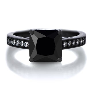Black Rhodium-plated Sterling Silver Black Princess-cut Cubic Zirconia Engagement Ring