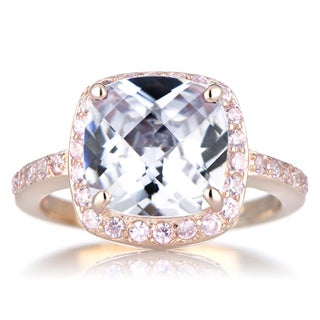 Rose Goldtone Sterling SIlver Cushion-cut Clear/ Pink Cubic Zirconia Engagement Ring