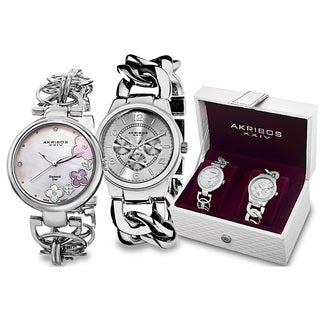 Akribos XXIV Women's Quartz Diamond/Multifunction Chain Link Bracelet Watch Set