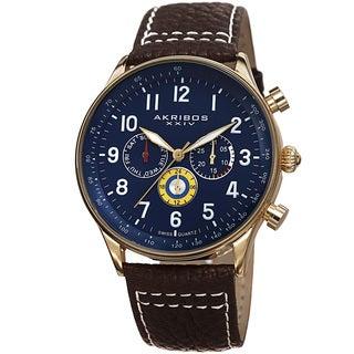 Akribos XXIV Men's Swiss Quartz Multifunction Tachymeter Genuine Leather Strap Watch