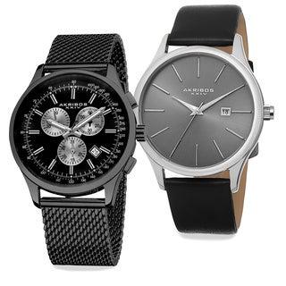 Akribos XXIV Men's Quartz Chronograph Strap/Bracelet Watch Set