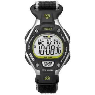 Timex Women's T5K8359J Ironman Rugged 30 Full-Size Black/Silver-Tone/Green Fast Wrap Nylon Strap Watch