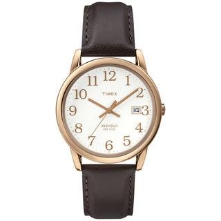 Timex Men's T2P5639J Easy Reader Rose Gold-Tone Case Brown Leather Strap Watch