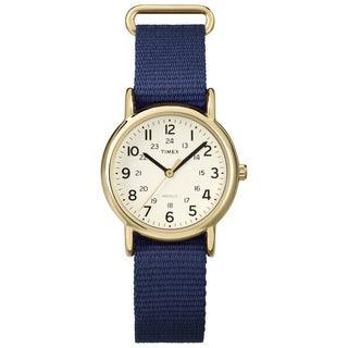 Timex T2P4759J Weekender Mid-size Blue Slip-thru Nylon Strap Watch