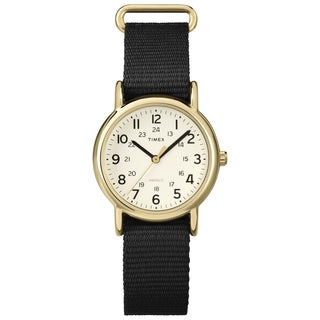 Timex Men's T2P4769J Weekender Mid-size Black Slip-through Nylon Strap Watch