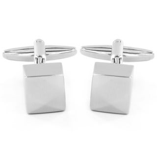 Men's High Polish Silvertone Cube Cuff Links
