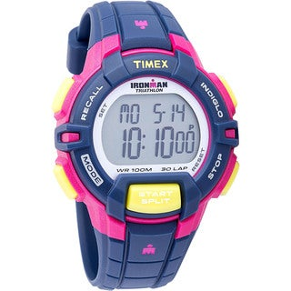Timex Women's T5K8139J Ironman Rugged Blue/ Pink/ Lime Resin Watch
