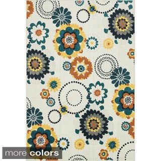 Indoor/ Outdoor Palm Floral/ Multi Rug (7'10 x 10'9)