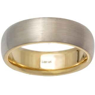 14k Two-tone Gold Men's Handmade Comfort-fit Wedding Band
