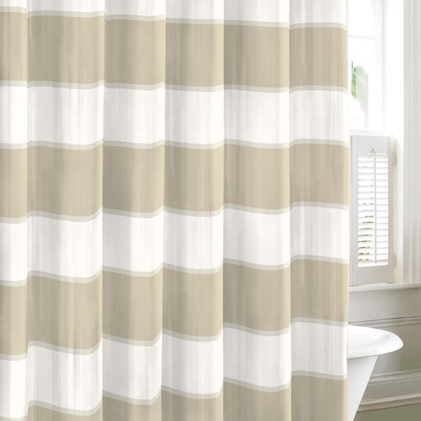 Nautica Guardhouse Stripe Neutral Cotton Shower Curtain Overstock Shopping Great Deals On
