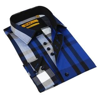 Brio Milano Men's Blue and Grey Plaid Button-down Fashion Shirt
