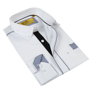 Brio Milano Men's White Plaid Button-down Shirt