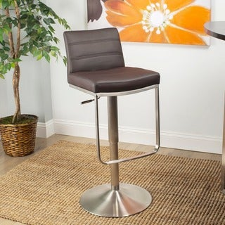 Zolo Leatherette Adjustable Height Swivel Stool with Brushed Stainless Steel Base