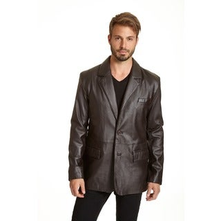 Men's Lambskin Leather 2-button Blazer with Flap Pockets