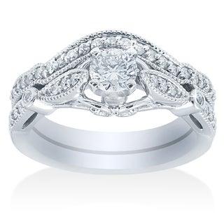 Bliss 14k White Gold 1 1/5ct TDW Vintage Diamond Bridal Set