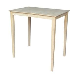 Unfinished Bar Height Shaker-leg Rectangular Parawood Dining Table
