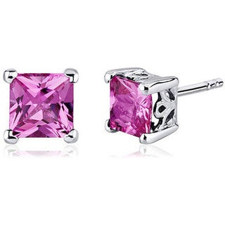 Oravo Sterling Silver Princess-cut Gemstone Earrings