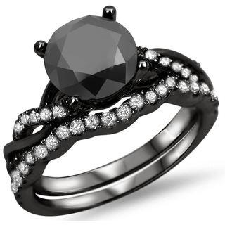 Noori 14k Black Gold 1 1/2ct Black Diamond Ring Set (F-G, SI1-SI2)