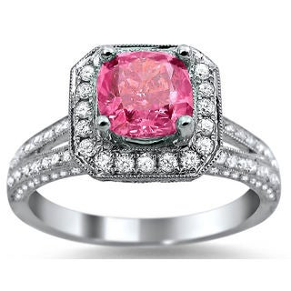 Noori 18k White Gold 2ct TDW Pink Cushion-cut Halo Diamond Ring (F-G, SI1-SI2)