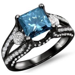Noori 18k Black Gold 2ct TDW Blue Princess-cut Diamond Ring (F-G, SI1-SI2)