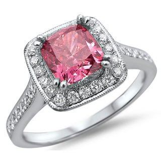 Noori 18k White Gold 1 2/5ct TDW Pink Cushion-cut Diamond Ring (SI1-SI2)
