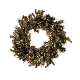 Pre-lit 24-inch Flocked Northern Wreath