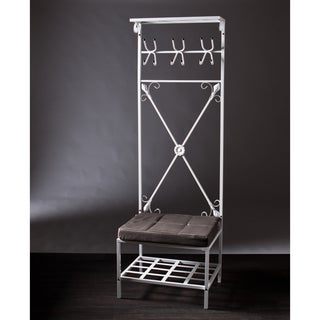 Upton Home White Storage Rack Entry Bench Seat