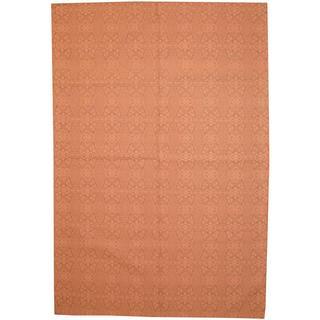 Herat Oriental Indo Hand-tufted Flat Weave Kilim Pink/ Grey Wool Rug (5'7 x 8'3)