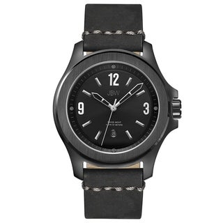 JBW Men's 'The Grove' Black Leather Watch