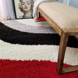 Maxy Home Shag Block Striped Waves Red Black White Grey Area Rug (6'7 x 9'3)