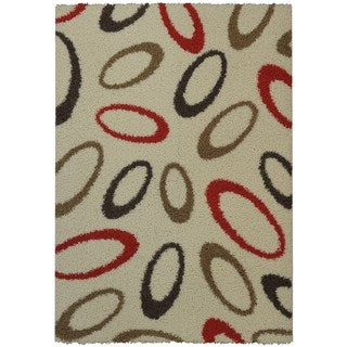 Maxy Home Shag Oval Geometric Almonds Ivory Red Brown Area Rug (5' x 7')