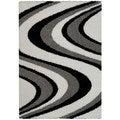 Maxy Home Shag Picasso Striped Wave Black White Grey Area Rug (3'3 x 4'8)