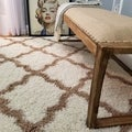 Maxy Home Shag Moroccan Trellis Ivory and Brown Area Rug (6'7 x 9'3)