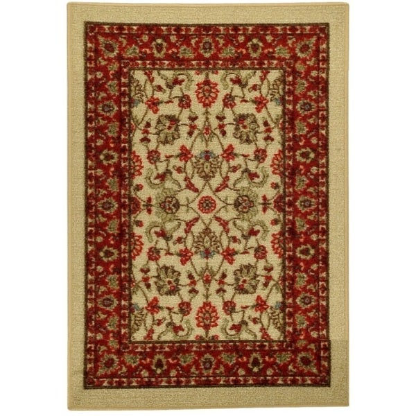rubber back ivory traditional floral non slip door mat rug 1 39 6 x 2 39 6