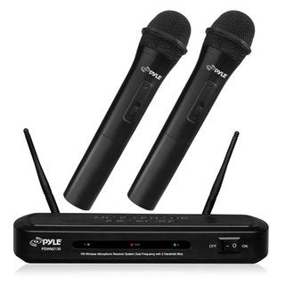 Pyle PDWM2130 FM Wireless Microphone Receiver System with Handheld Mics and Dual Frequency