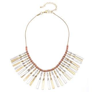Tri-tone Metal Beaded Bib Necklace (India)