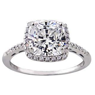 Glitzy Rocks Sterling Silver Gemstone or Cubic Zirconia Birthstone Square Ring