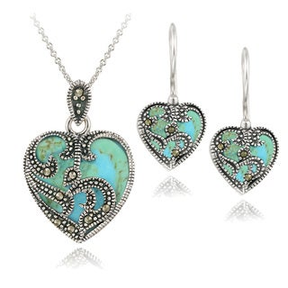 Glitzy Rocks Sterling Silver Marcasite and Reconstituted Turquoise Heart Necklace and Earrings Set