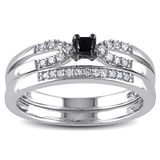 Haylee Jewels Sterling Silver 1/5ct TDW Black Diamond Bridal Set