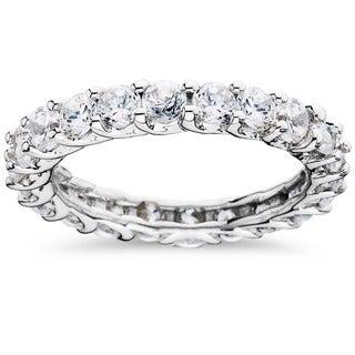 Bliss 14k White Gold 3ct TDW Trellis Diamond Eternity Ring (H-I, I1-I2)