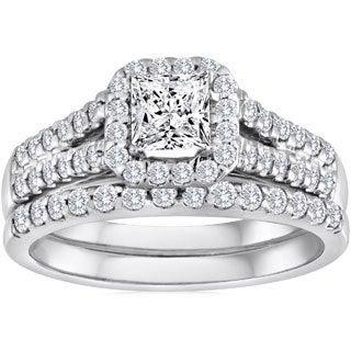 14k White Gold 1 1/4ct TDW Princess-cut Halo Diamond Bridal Set (H-I, I1-I2)
