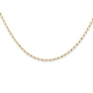 PalmBeach 10k Yellow Gold Elongated Curb Link Necklace Tailored