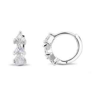 Sterling Silver Loop Trillion-cut Cubic Zirconia Cuff Earrings