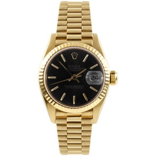Pre-Owned Rolex Women's President Yellow Gold Black Dial Automatic Watch