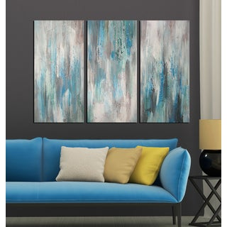 Hand-painted 'Sea of Clarity' 3-piece Gallery-wrapped Canvas Art Set